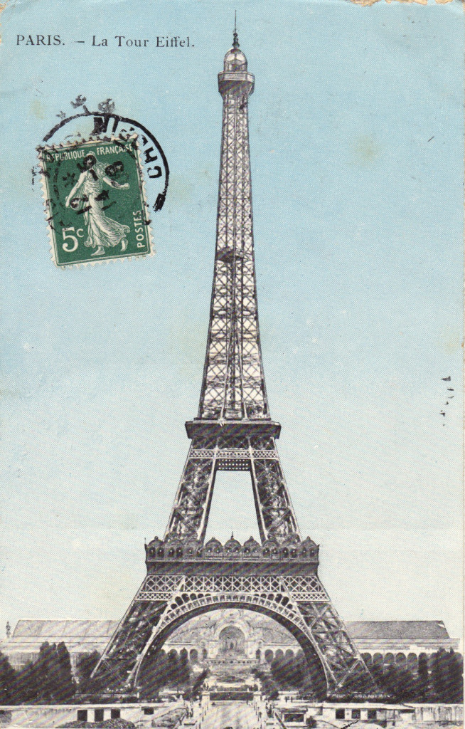 Eiffel tower vintage paris postcard