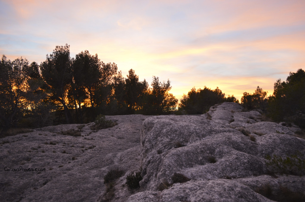 sunset provence garrigue