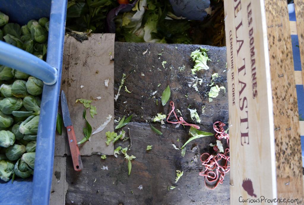 preparing vegetables farmshop